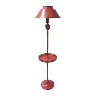 Red Tole Floor Lamp with Table