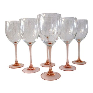 French Blush Pink Stemmed Wine Glasses - Set of 6