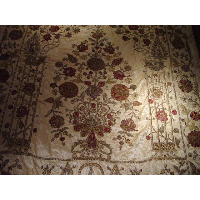Large Ottoman Large Silkwork Textile Botanical Embroidery Hanging - Image 5 of 9