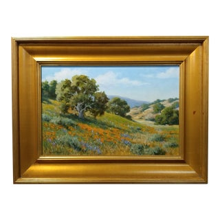 David Chapple -Beautiful California Wildflowers - Impressionist- original Oil Painting Oil Painting on board