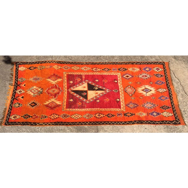 "A Very Old Fine and Rare Vintage Orange Moroccan Azilal Rug - 4'2"" X 10' - Image 2 of 5"