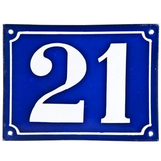 "Large Vintage French ""21"" Enamel House Number"