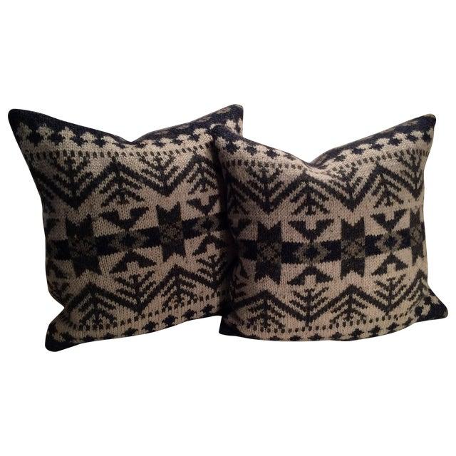 Vintage Blanket Pillows - Pair - Image 1 of 5