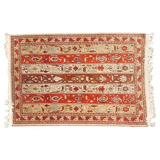 Vintage Rust Striped Azerbaijani Rug - 4' x 5'8""