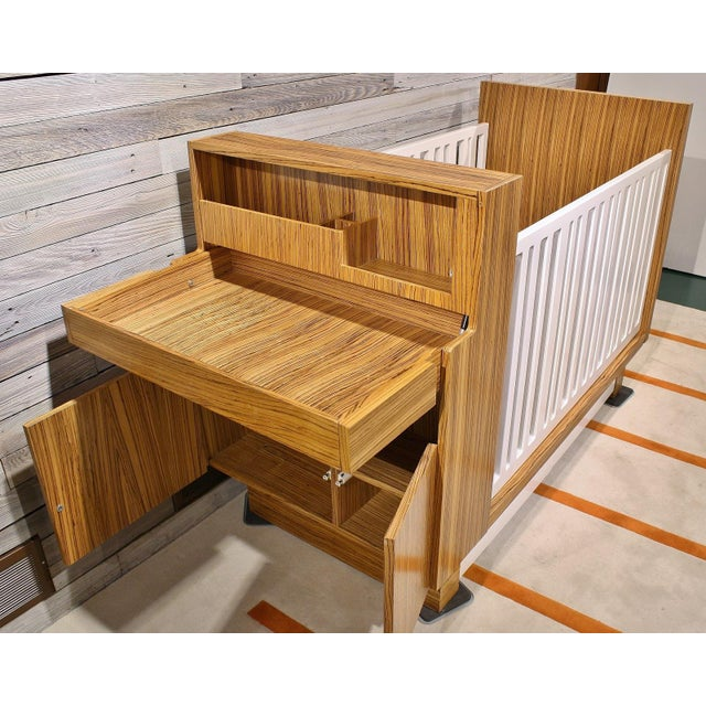 Modern Zebrawood Crib and Built-In Changing Table - Image 2 of 5