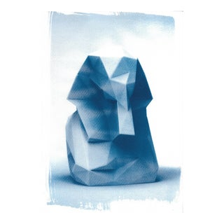 Egyptian Pharaoh Low-Poly Bust, Cyanotype Print on Watercolor Paper (Limited Edition)