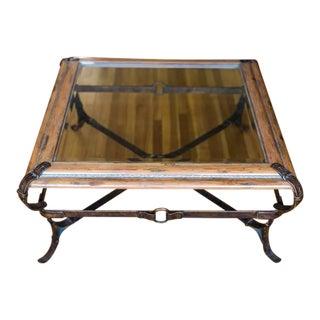 Traditional Wood & Glass Coffee Table