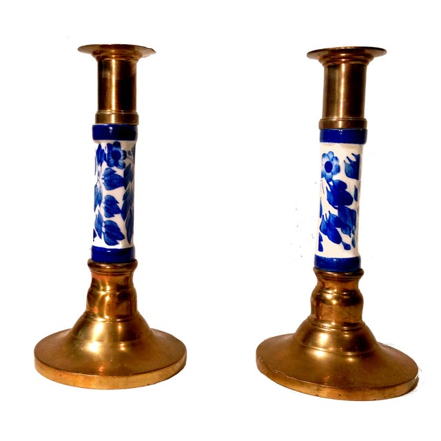 Image of Porcelain Delft & Brass Candlestick Holders - Pair