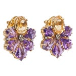 Image of Amethyst & Citrine Flower Earrings