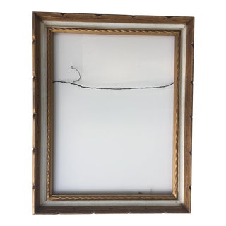 Mid-Century Gold & White Carved Frame