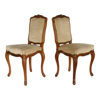 Carved Cherry Vintage French Side Chairs - A Pair