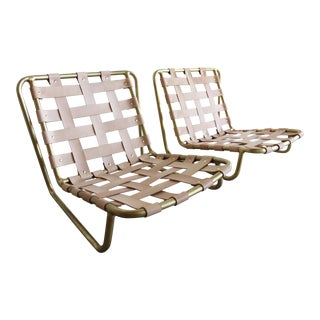 Mid Century Brown Jordan Sand Chairs/Lounges in Leather and Bronze - a Pair