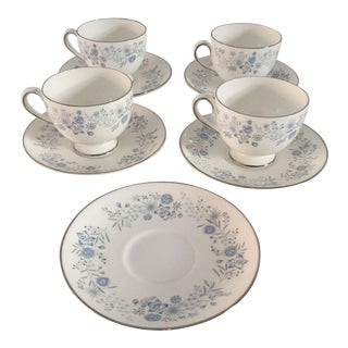 Wedgwood Fine China Tea Cups & Saucers - Set of 9