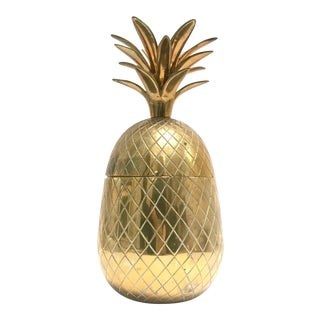 "Large 12"" vintage brass lidded pineapple container"