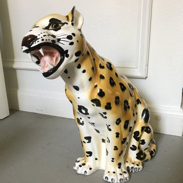 Vintage Hand Painted Leopard Statue - Image 4 of 6