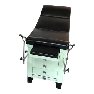 Vintage Medical Examination Table and Cabinet