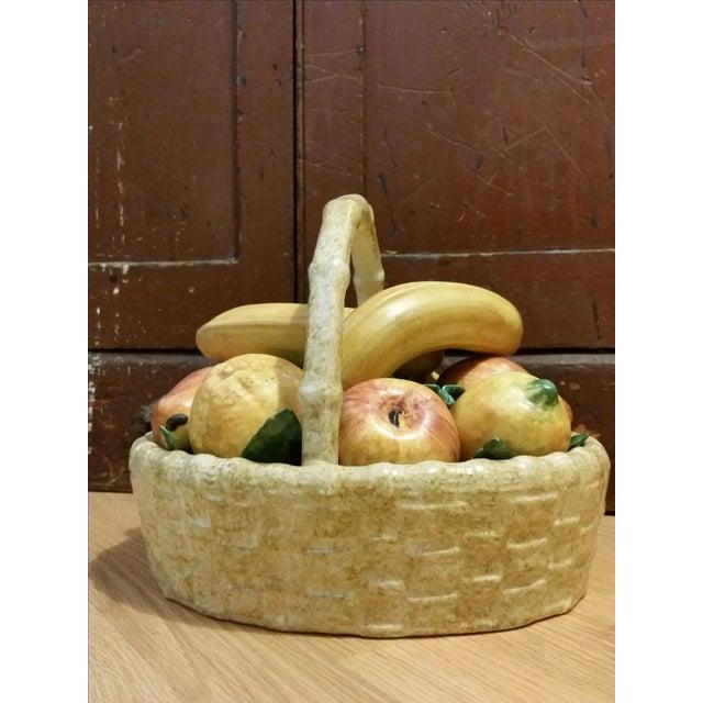 Image of Vintage Italian Ceramic Fruit Basket