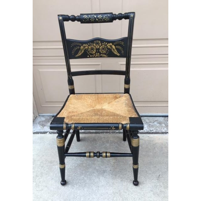 Hitchcock Style Painted Stenciled Rush Chairs - 2 - Image 7 of 9