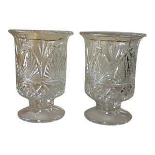 Large Elegant Cut Glass Crystal Vessels - a Pair