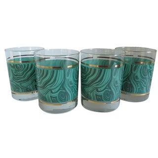 Vintage Malachite Pattern Glasses - Set of 4