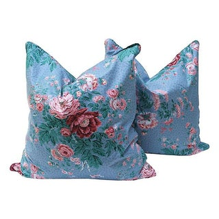 Large Blue & Pink Floral Chintz Pillows - A Pair