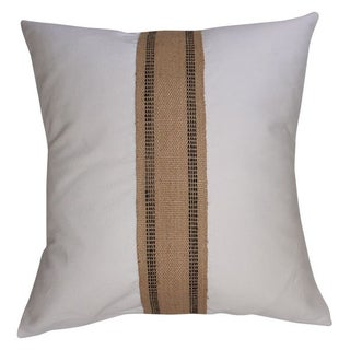 White Cotton and Burlap Pillow
