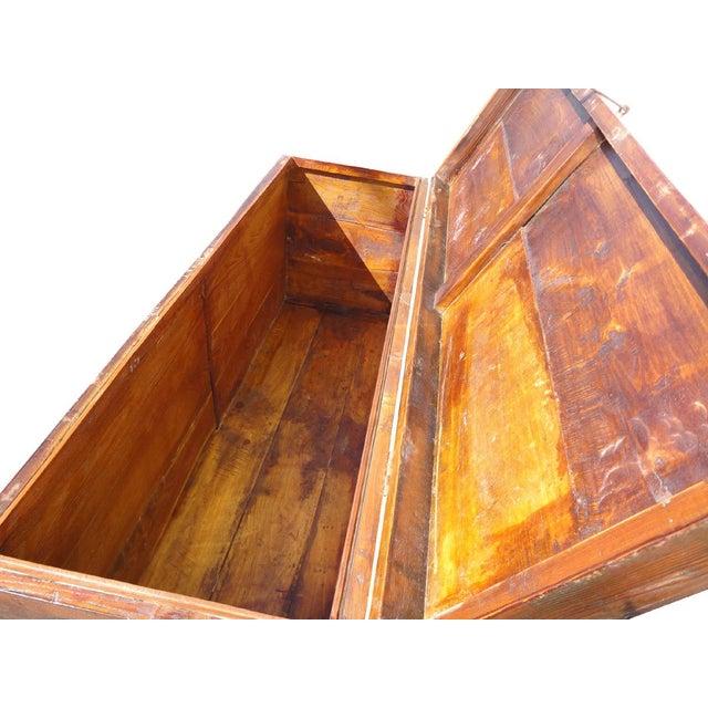 Antique Tibetan Elm Wood Graphic Storage Trunk - Image 5 of 7