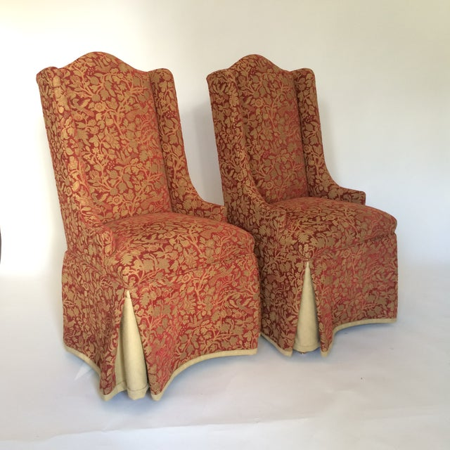 Image of Red & Gold Brocade Dining Chairs - A Pair