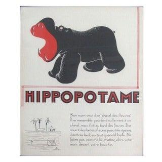 1930s French Art Deco Hippo Giclée Print