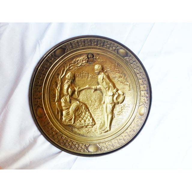 Vintage Decorative Brass Wall Plates - A Pair - Image 5 of 6