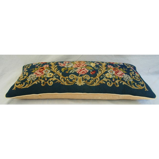 Custom 19th-C. French Needlepoint Floral Pillow - Image 5 of 11