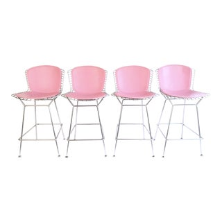Pink Harry Bertoia for Knoll Chrome Bar Stools - Set of 4