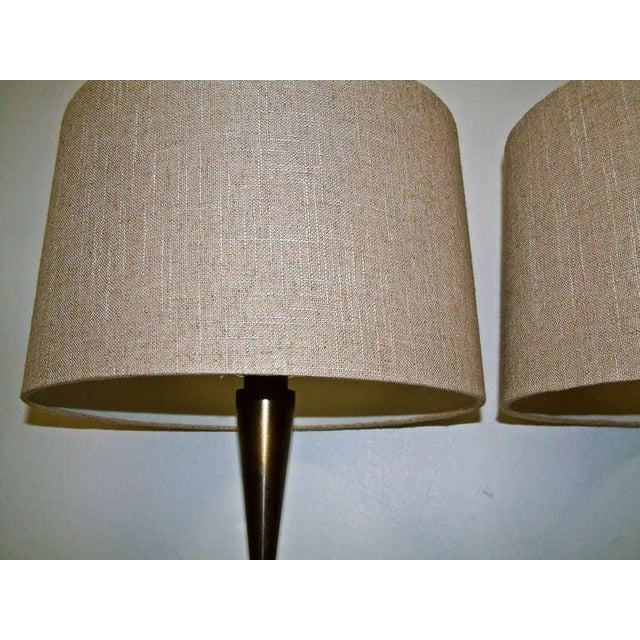 Bronze and Primavera Finish Wood Base Lamps - A Pair - Image 7 of 8