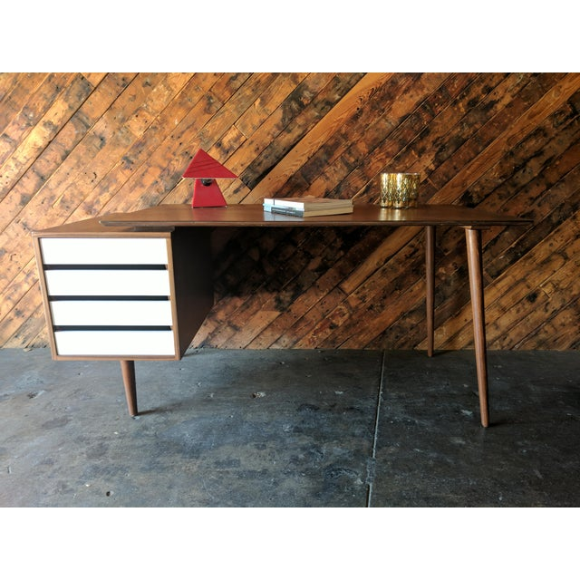 Custom Large Mid Century Style Walnut Desk - Image 11 of 11