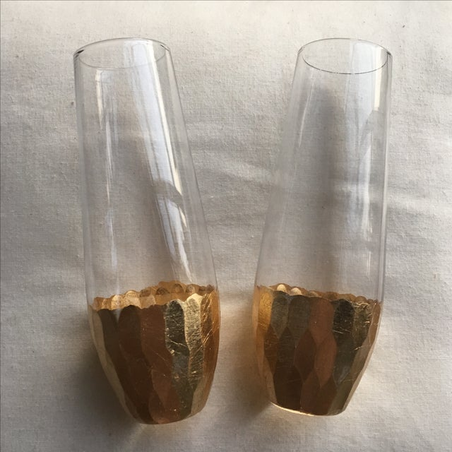 Image of Gold Leaf Base Champagne Flutes - A Pair