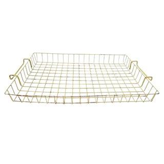 Vintage Yellow Coated Metal Wire Flat Basket