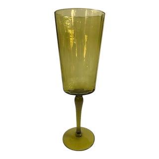 Large Green Empoli Style Glass Pedestal Bowl