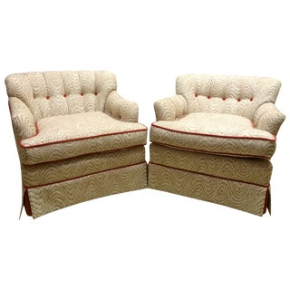 Armchairs with Red Velvet Piping - A Pair
