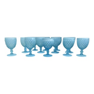 Opaline Blue Milk Glass Goblets - Set of 12