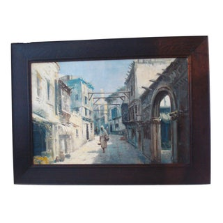 Vintage Framed Orientalist Oil on Canvas Painting