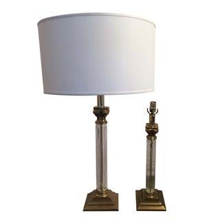 Mid Century Modern Chapman Brass Glass Lamps Pair