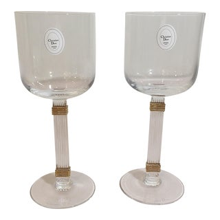 Christian Dior Gaudron Gold Wine Goblets - A Pair