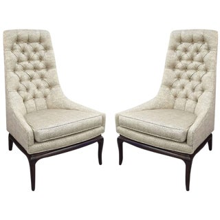 Pair of Tufted High Back Lounge Chairs