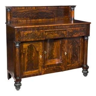 Mahogany Classical Sideboard with Gothic Arch Doors & Reeded Melon Feet