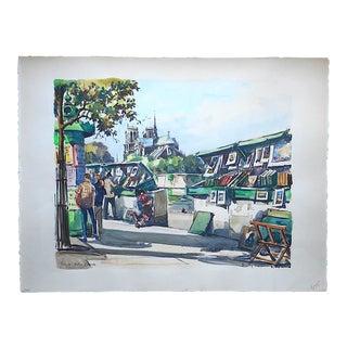 Original Vintage Signed Paris Watercolor, Left Bank