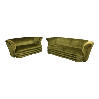 Chartreuse Art Deco Inspired Sofa & Loveseat - A Pair