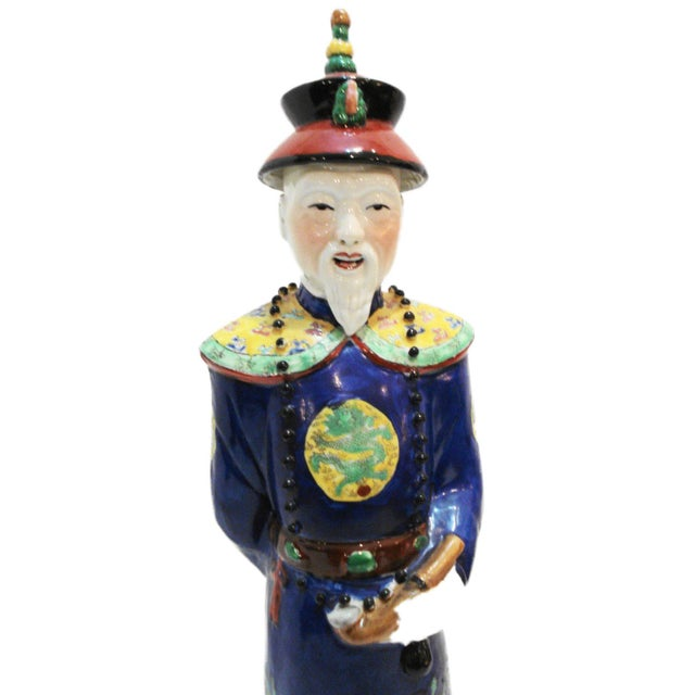 Chinese Hand Painted Cobalt Blue Porcelain Figure of an Official - Image 4 of 5