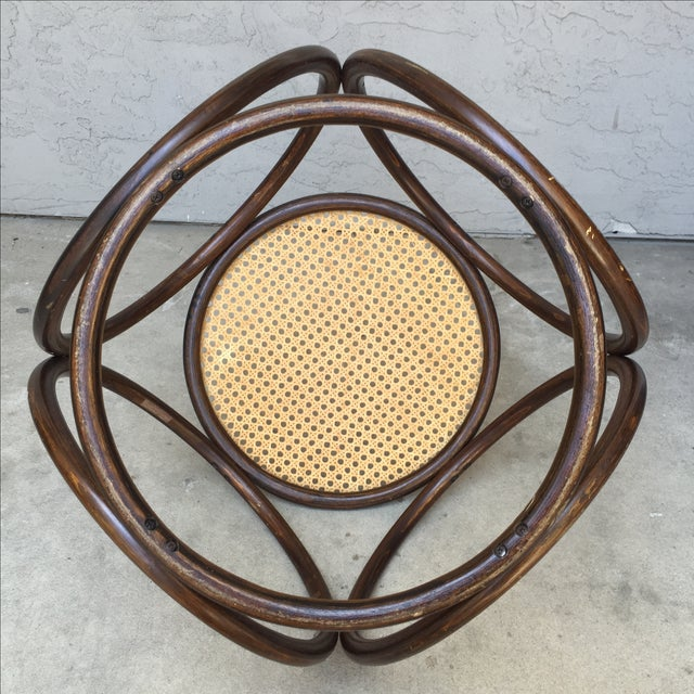 MCM Thonet Bentwood & Cane Ottoman or Side Table - Image 7 of 10