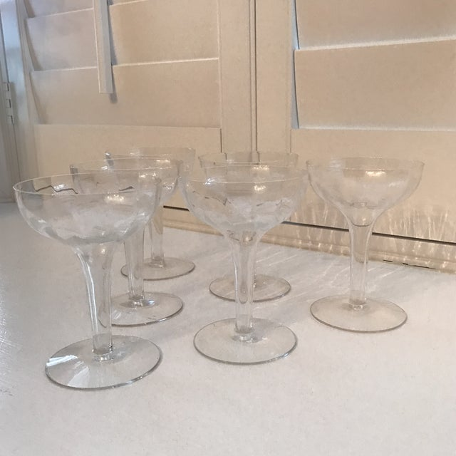 Hollow stem etched champagne glasses set of 6 chairish - Champagne flutes hollow stem ...