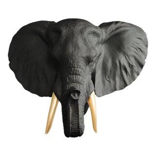 Black & Gold Mini Elephant Tusk Faux Head Bust by Wall Charmers